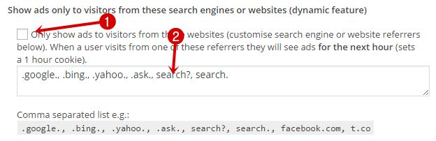 Show ads only to visitors from these search engines or websites