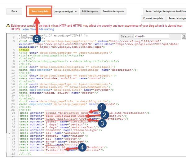 Add meta tag code in blogger 2