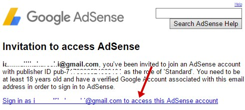 Invitation access AdSense