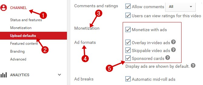 Monetization Settings