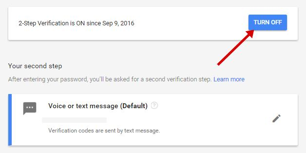 Turn off google two step verification