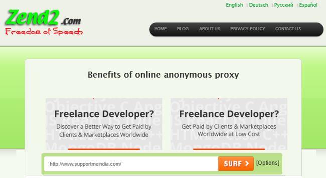 Zend 2 Online Anonymous Proxy