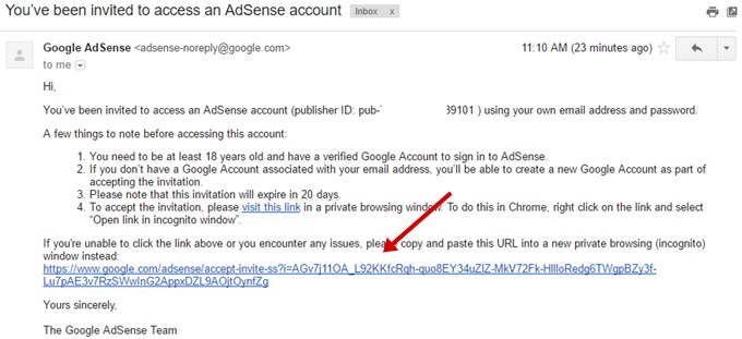 verify AdSense invitation