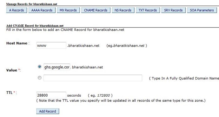 Manage record on bigrock domain