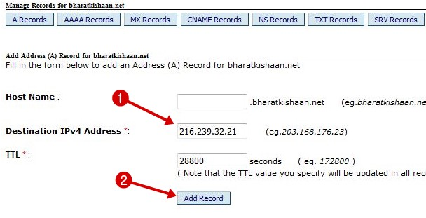 Manage record on bigrock domains