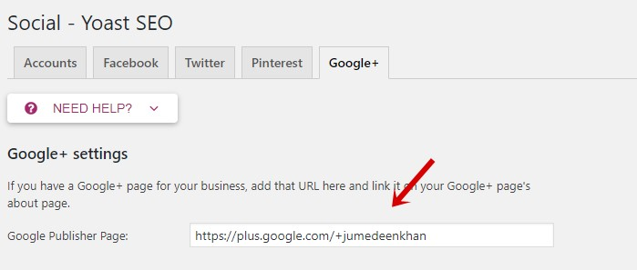 Yoast Google Plus Settings