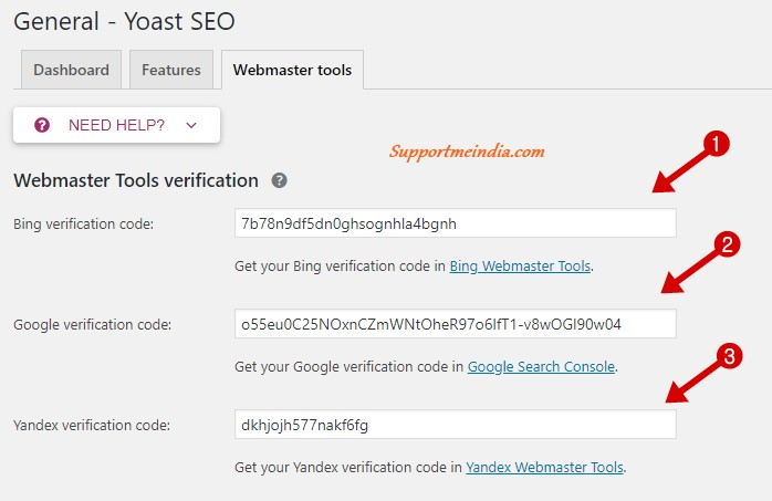 Yoast Webmaster tools Settings
