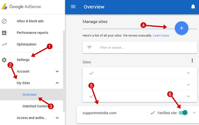 Adsense site management settings