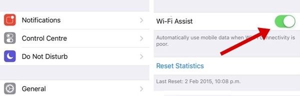 Turn off Wi-Fi Assist Feature