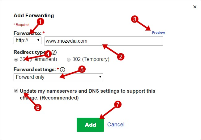 domain forward settings