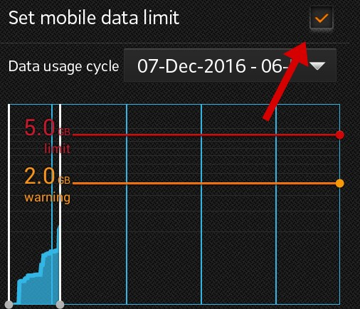 enable mobile data saving feature an set limi