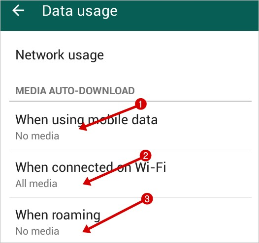 off whatsapp auto download media feature