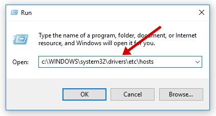 open hosts file on PC