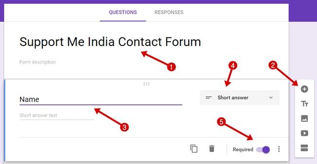 Fill contact form question