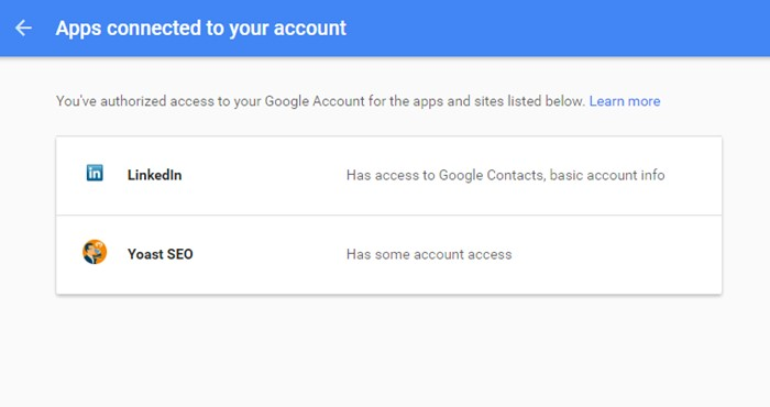 Apps connected your google account