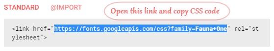 Open google fonts URL