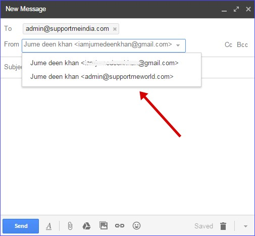 Send mail from custom email address
