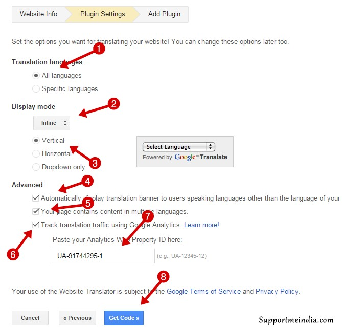 google translate tools plugin settings