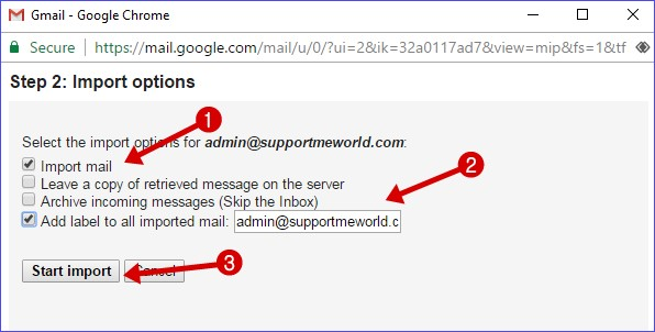 import custom email to gmail account