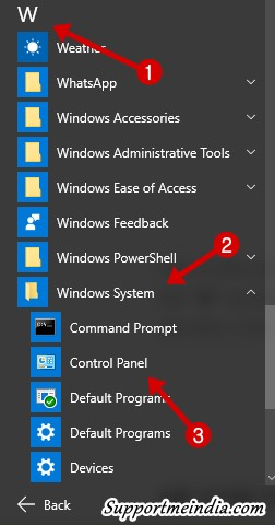 Open control panel via start menu