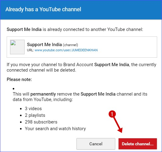 how to delete old youtube account