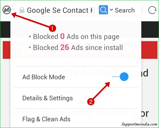 Dsiable adblocker uc browser