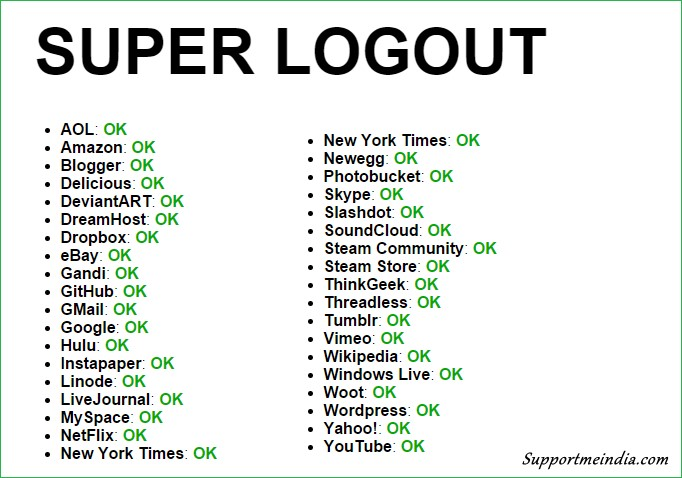 Super Logout Account List