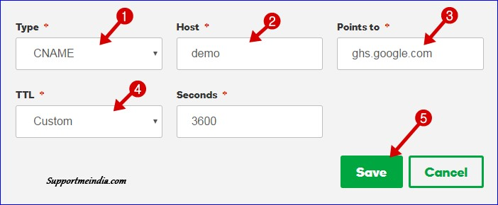 Add DNS record on domain setting