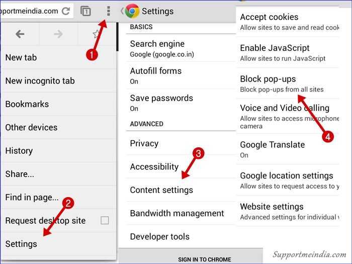 Disable popups in mobile chrome browser
