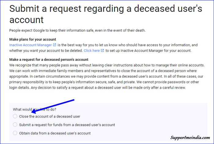 Submit a request regarding a deceased person account