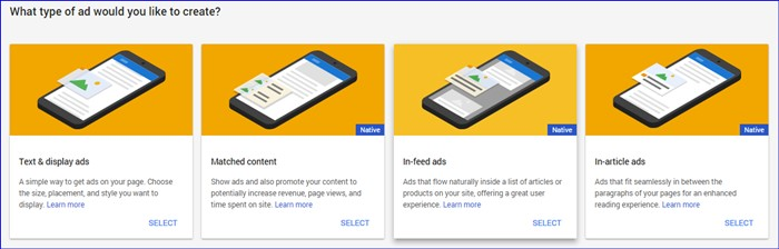 Select adsense ads category