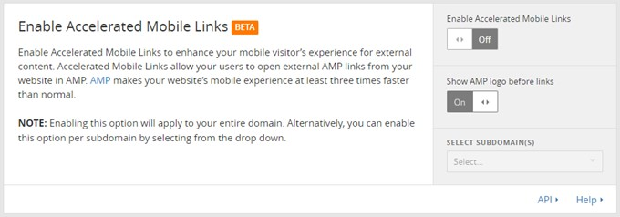 Enable Accelerated Mobile Links