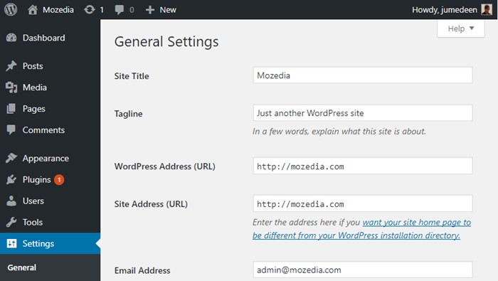 Add domain on wordpress