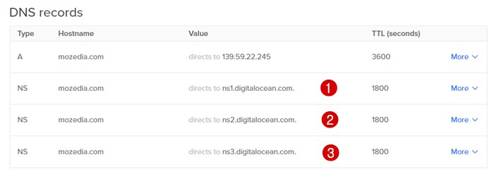 DigitalOcean DNS Record