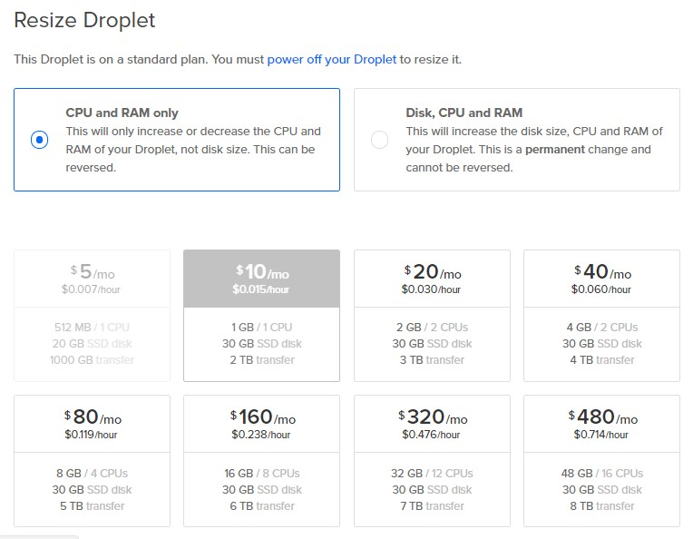 Digitalocean resize droplet
