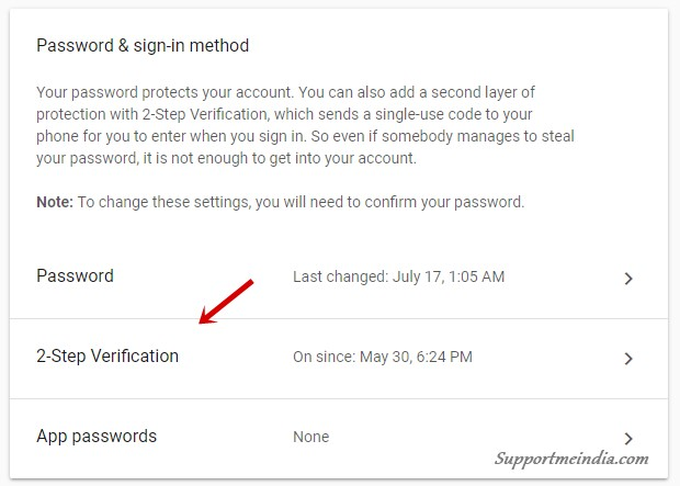 Enable 2-step verification in google account