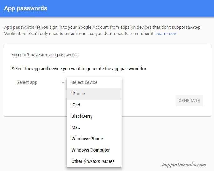 Google Account App Passwords