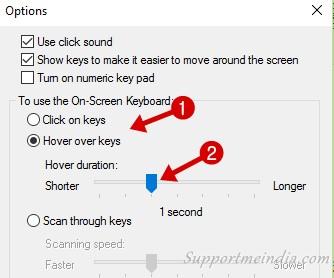 Hover over keys