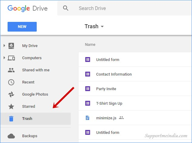 Open Google Drive Trash