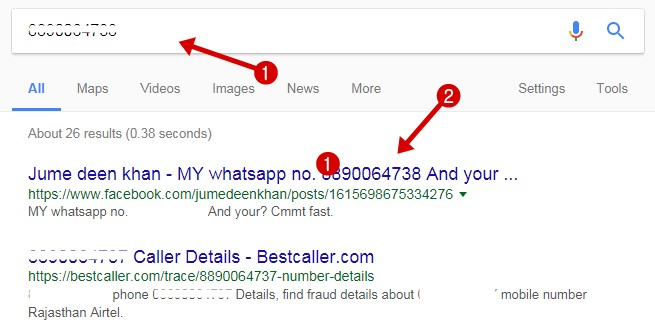 Search Mobile Number Details on Google