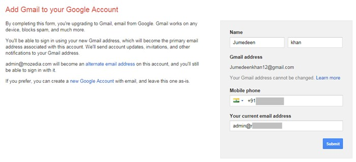 Add Gmail to your Google Account