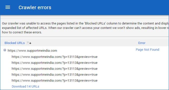 Adsense crawler errors