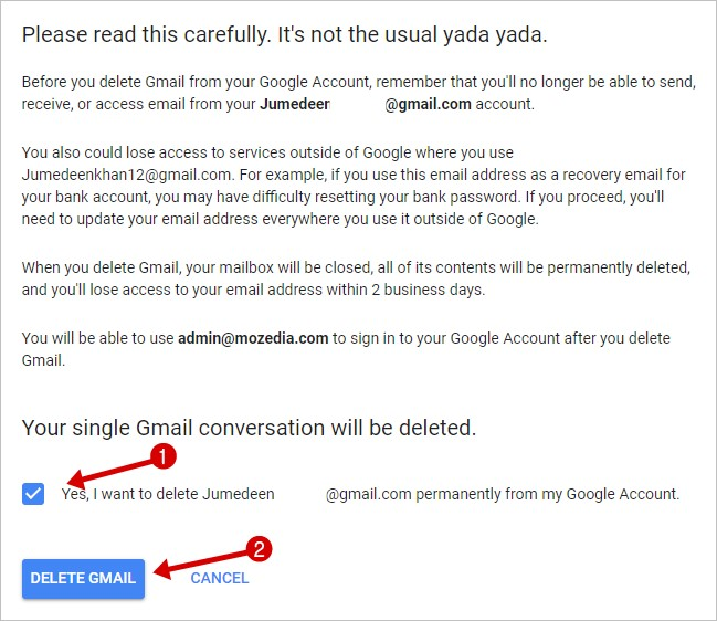 Delete Google Gmail Account All data