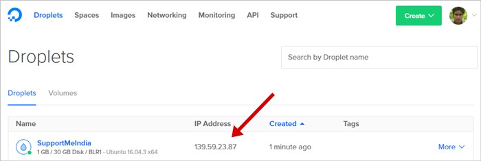 Droplet IP Address