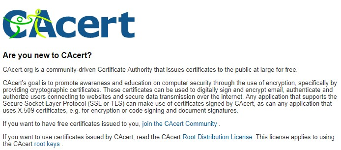 CAcert Free Certificate Authority