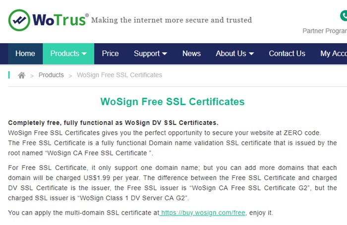 WoSign Free SSL Certificates