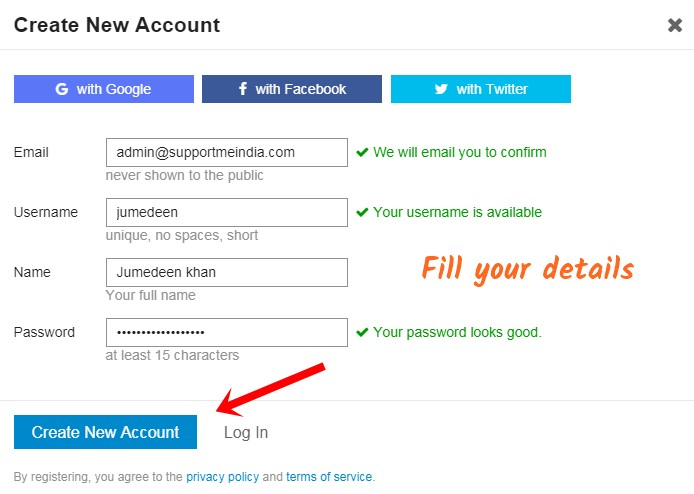 Create new Account on Support Me india Forum