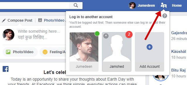 Facebook Account Switcher Button