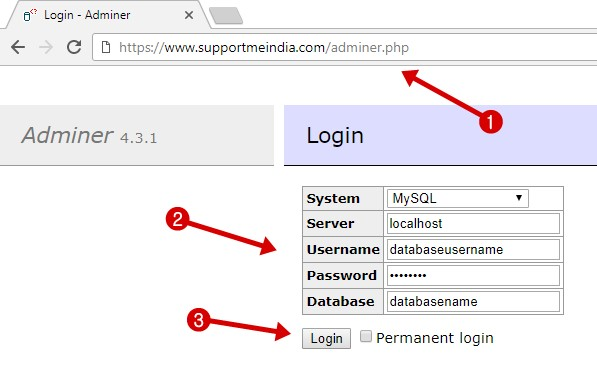 Login Database via adminer