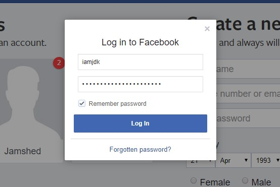 Login with another facebook account